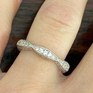 Sapphire Intricate Silver Wedding Eternity Band